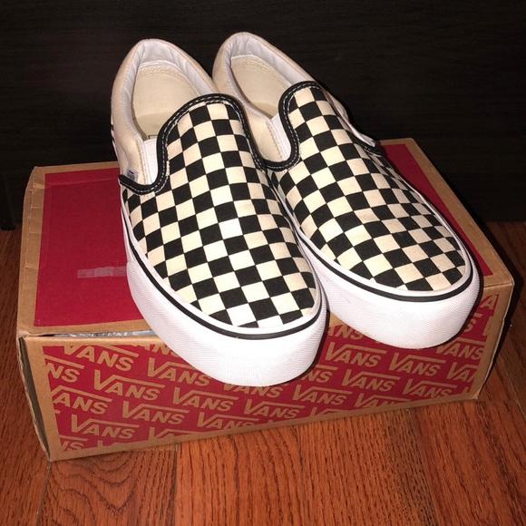 32d0485da4 Vans Shoes - Platform OffWhite   Black Checkerboard SlipOn Vans
